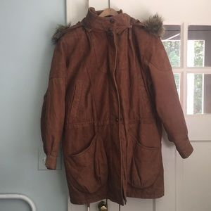 Vintage leather winter coat